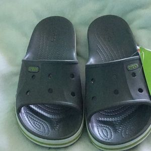 Crocs 🐊Bayaband Slide, Charcoal/Green, SZ 7 🐊